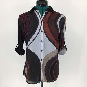 Desigual Isabel Sheer Button-Up Blouse, Medium